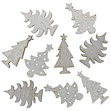 Buy John Lewis Wood Mini Glitter Trees, Silver, Pack Of 9 Online at johnlewis.com