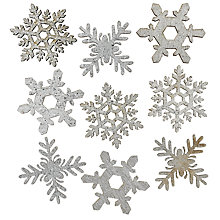 Buy John Lewis Mini Glitter Snowflake, Pack Of 9, Silver Online at johnlewis.com