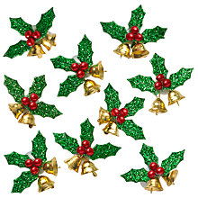 Buy John Lewis Mini Holly With Bells, Pack Of 8 Online at johnlewis.com