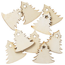 Buy John Lewis Wooden Christmas Trees, Pack Of 9, Natural Online at johnlewis.com