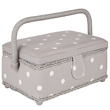 Buy John Lewis Spot Small Rectangular Filled Sewing Basket, Grey Online at johnlewis.com