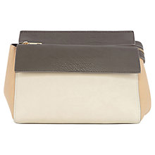 Buy Warehouse Colourblock Zip Front Satchel Bag, Cream Online at johnlewis.com