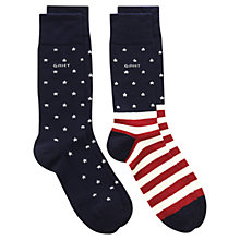 Buy Gant Stars & Stripes Socks, Pack of 2, Dark Blue, One Size Online at johnlewis.com