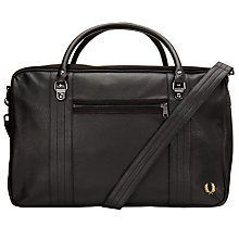Buy Fred Perry Scotch Grain Overnight Bag, Black Online at johnlewis.com