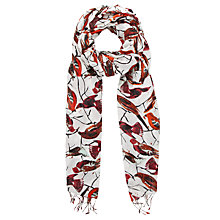 Buy Collection WEEKEND by John Lewis Bird Print Scarf, Cream/Red Online at johnlewis.com
