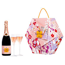 Buy Veuve Clicquot Rosé NV Champagne and Shakkei Flute Set, 75cl Online at johnlewis.com