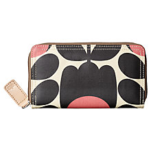 Buy Orla Kiely Matt Laminated Tulip Stem Zip Around Purse, Black / Pink Online at johnlewis.com