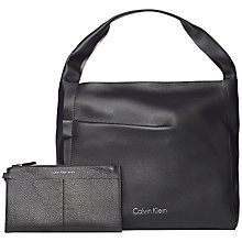 Buy Calvin Klein Gwen Leather Hobo Bag, Black Online at johnlewis.com