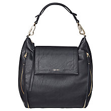 Buy Calvin Klein Izzy Leather Hobo Bag, Black Online at johnlewis.com