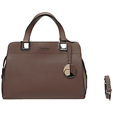 Buy Calvin Klein Sofie Small Leather Bowler Bag, Taupe Online at johnlewis.com