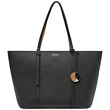Buy Calvin Klein Sofie E/W Leather Tote Bag, Black Online at johnlewis.com