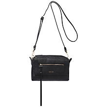 Buy Calvin Klein Izzy Leather Small Shoulder Bag, Black Online at johnlewis.com