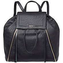Buy Calvin Klein Izzy Leather Backpack, Black Online at johnlewis.com