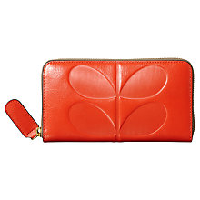 Buy Orla Kiely Embossed Stem Zip Purse, Orange Online at johnlewis.com