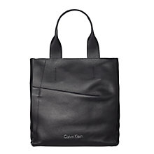 Buy Calvin Klein Gwen Leather N/S Tote Bag, Black Online at johnlewis.com