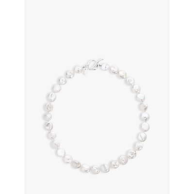 Claudia Bradby Coin Pearl Necklace, White