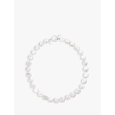Buy Claudia Bradby Coin Pearl Necklace, White Online at johnlewis.com