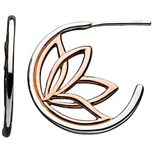 Buy Kit Heath Lotus Sterling Silver Round Earrings, Rose Gold / Silver Online at johnlewis.com