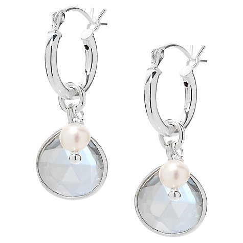 Buy Claudia Bradby Vienna Crystal Pearl Drop Earrings, Silver Online at johnlewis.com
