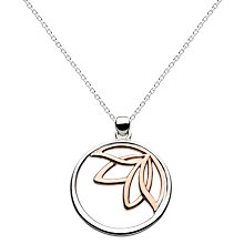 Buy Kit Heath Lotus Sterling Silver Round Pendant, Silver / Rose Gold Online at johnlewis.com