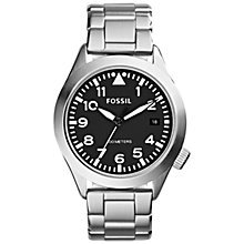 Buy Fossil AM4562 Men's Aeroflite Three-Hand Stainless Steel Watch, Silver Online at johnlewis.com