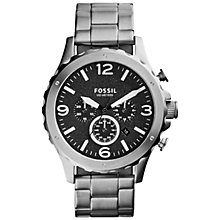 Buy Fossil JR1468 Men's Nate Chronograph Stainless Steel Watch, Silver Online at johnlewis.com