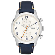 Buy Fossil FS4932 Men's Townsman Chronograph Leather Watch, White/Navy Online at johnlewis.com