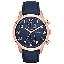Buy Fossil FS4933 Men's Townsman Chronograph Leather Watch, Navy/Navy Online at johnlewis.com