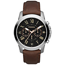 Buy Fossil Grant Men's Chronograph Leather Strap Watch Online at johnlewis.com