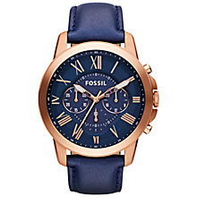 Buy Fossil FS4835 Men's Grant Chronograph Leather Strap Watch, Navy Online at johnlewis.com