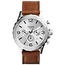 Buy Fossil JR1473 Men's Nate Chronograph Leather Watch, Tan Online at johnlewis.com