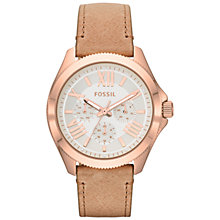Buy Fossil AM4532 Women's Cecile Chronograph Round Dial Leather Strap Watch, Sand Online at johnlewis.com