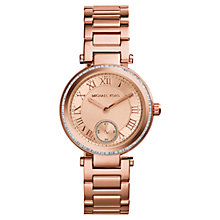 Buy Michael Kors MK5616 Women's Mini Rose Gold Stainless Steel Skylar Three-Hand Glitz Watch, Rose Gold Online at johnlewis.com