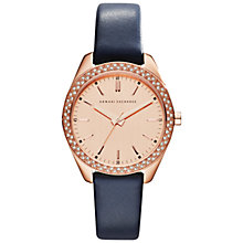 Buy Armani Exchange AX5508 Women's Watch, Rose Gold / Blue Online at johnlewis.com