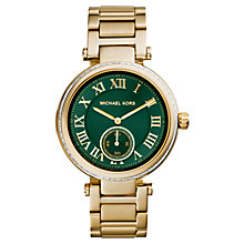 Buy Michael Kors MK6065 Women's Mid-Size Stainless Steel Skylar Three-Hand Glitz Watch, Gold Online at johnlewis.com
