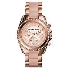 Buy Michael Kors MK5943 Women's Chronograph Acetate Link Bracelet Strap Watch, Rose Gold Online at johnlewis.com