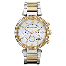 Buy Michael Kors MK5626 Women's Glitz Top Chronograph Stainless Steel Bracelet Watch, Silver / Gold Online at johnlewis.com