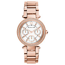 Buy Michael Kors MK5616 Women's Mini Chronograph Bracelet Strap Watch, Rose Gold/White Online at johnlewis.com