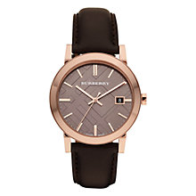 Buy Burberry BU9013 Men's The City Leather Strap Watch, Dark Brown/Taupe Online at johnlewis.com