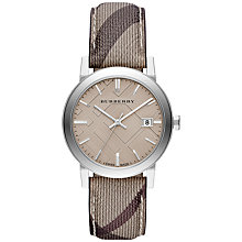 Buy Burberry BU9029 Men's The City Haymarket Check Fabric Strap Watch, Dark Brown/Taupe Online at johnlewis.com