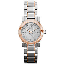 Buy Burberry BU9214 Women's The City Bracelet Strap Diamond Dial Watch, Silver / Rose Gold Online at johnlewis.com