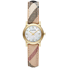 Buy Burberry BU9226 Women's The City Mini Mother of Pearl Diamond Dial Watch, Gold / Brown Check Online at johnlewis.com