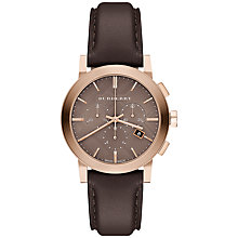 Buy Burberry BU9752 Men's The City Chronograph Leather Strap Watch, Chocolate/Taupe Online at johnlewis.com