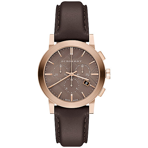 Buy Burberry BU9752 Men's The City Two Tone Chronograph Leather Strap Watch, Rose Gold / Chocolate Online at johnlewis.com