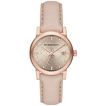 Buy Burberry BU9131 Women's The City Diamond Leather Strap Watch, Cream / Rose Gold Online at johnlewis.com