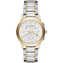 Buy Burberry BU9751 Men's The City Two Tone Chronograph Bracelet Strap Watch, Silver / Gold Online at johnlewis.com
