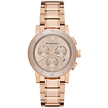 Buy Burberry BU9703 Women's The City Chronograph Bracelet Strap Watch, Nude / Rose Gold Online at johnlewis.com