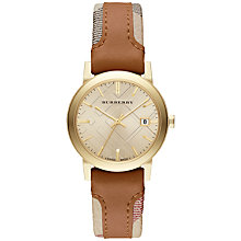 Buy Burberry BU9133 Women's The City Leather Strap Haymarket Trim Watch, Tan / Gold Online at johnlewis.com