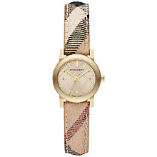 Buy Burberry BU9219 Women's The City Haymarket Strap Watch, Gold / Brown Check Online at johnlewis.com