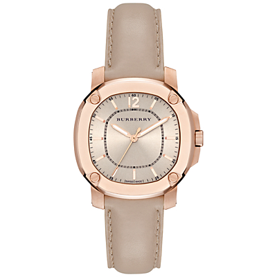 Burberry BBY1503 Women's The Britain Leather Strap Watch, Rose Gold/Champagne